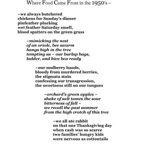 A FIVE-TANKA POEM: Where Food Came From in the 1950's